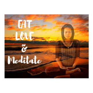 Coma, ame e Meditate cartão