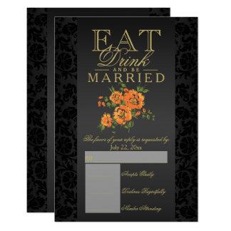 Coma, bebida e seja RSVP floral alaranjado casado Convite 8.89 X 12.7cm