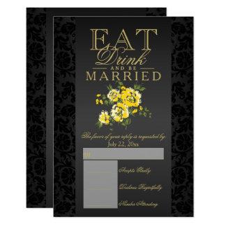 Coma, bebida e seja RSVP floral amarelo casado Convite 8.89 X 12.7cm