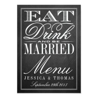 Coma, bebida & seja menus casados do casamento do convite 11.30 x 15.87cm
