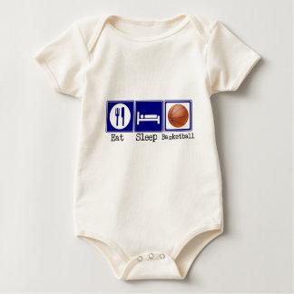 Coma, durma, basquetebol macacãozinhos para bebê