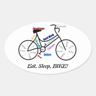 Coma, durma, BIKE! Palavras inspiradores do Adesivo Oval