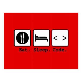 coma o desgaste do nerd do código do sono cartões postais