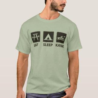 Coma o preto do caiaque do sono tshirts