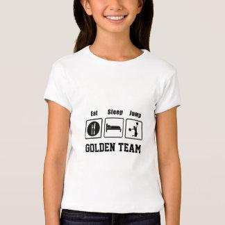 Coma o t-shirt bonito das meninas do cheerleader
