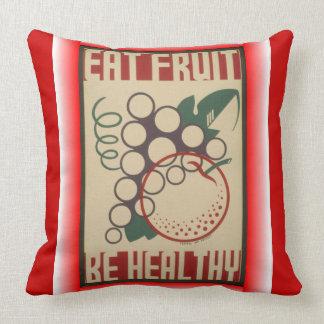 Coma o travesseiro do quadrado da fruta almofada