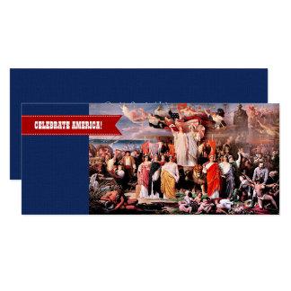 """Comemore América, 4o de cartões de julho Convite 10.16"""" X 23.49cm"""