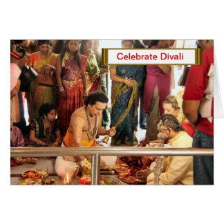 Comemore Divali, cerimónia no templo Cartão Comemorativo