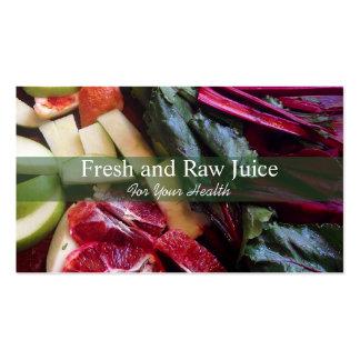 Comida do nutricionista de Juicing e verde da Cartão De Visita