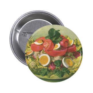 Comida do vintage, salada verde misturada orgânica bóton redondo 5.08cm