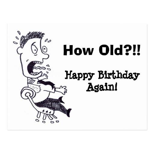 Como cartão velho do aniversário cartão postal