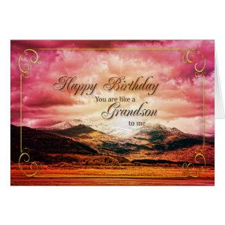 Como um neto a mim aniversário, montanhas do por cartão comemorativo
