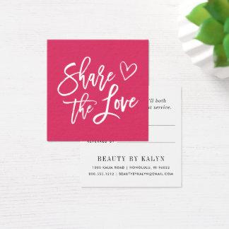 Compartilhe da referência do amor | cartão de visitas quadrado