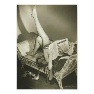 Compartimento da leitura da mulher convite 12.7 x 17.78cm