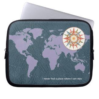 compasso, mapa do mundo no azul capa para notebook
