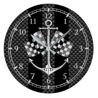 Competência de barco do monograma náutica no relógios para pendurar