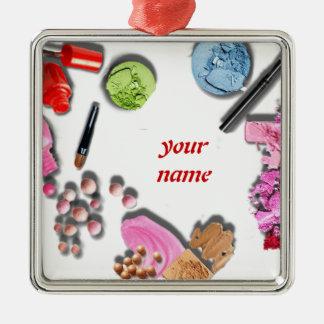Compo a menina para personalizar cosméticos ornamento quadrado cor prata