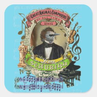 Compositores animais Schubert do pássaro engraçado Adesivo Quadrado