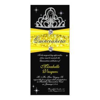 "Comprimento preto amarelo do chá da princesa Tiara Convite 10.16"" X 23.49cm"