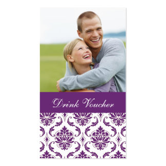 Comprovante roxo da bebida do casamento da foto do cartão de visita