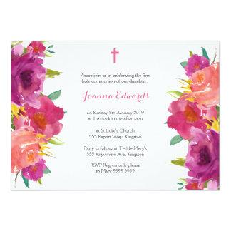 Comunhão floral da aguarela primeiro personalizado convite 12.7 x 17.78cm