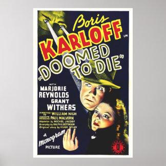 Condenou morrer - cartaz cinematográfico do vintag impressão