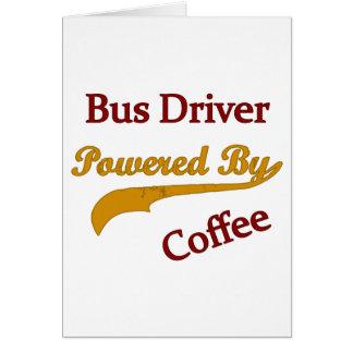 Condutor de autocarro psto pelo café cartão comemorativo