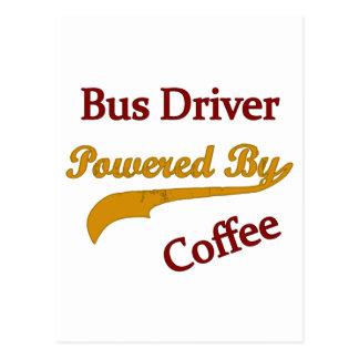 Condutor de autocarro psto pelo café cartao postal