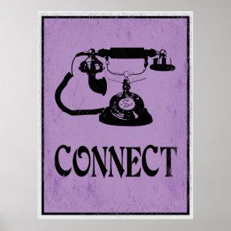 Conecte: Poster retro da arte do telefone