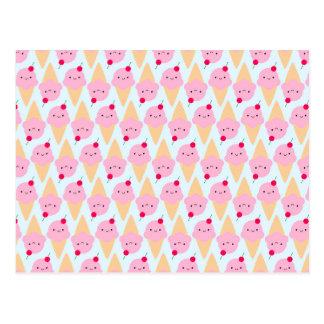 Cones do sorvete de Kawaii Cartão Postal