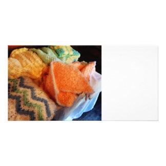 Confecção de malhas para o bebê cartão com fotos