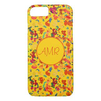 Confetes amarelos e vermelhos brilhantes capa iPhone 8/7