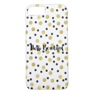 Confetes chiques do preto e do ouro bonitos capa iPhone 8/7