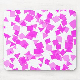 Confetes cor-de-rosa brilhantes no branco mouse pad