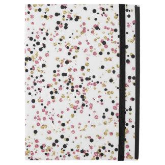"""Confetes cor-de-rosa do preto do ouro capa para iPad pro 12.9"""""""