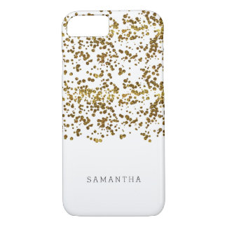 Confetes do brilho de Bling do ouro Capa iPhone 8/7