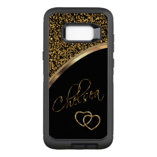 Confetes e preto do ouro com nome do roteiro capa OtterBox defender para samsung galaxy s8+
