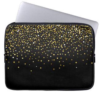 Confetes Glam do brilho do ouro Sleeve Para Laptop