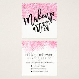 Confetes modernos da aguarela do rosa da cartão de visitas quadrado