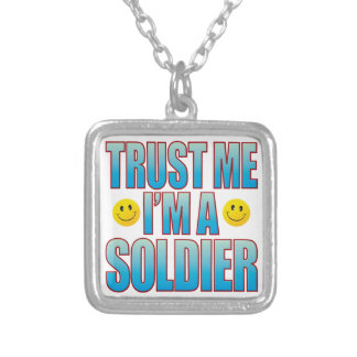 Confie-me a vida B do soldado Colar Com Pendente Quadrado