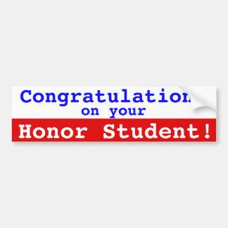 Congrats em sua vara do pára-choque do estudante adesivo para carro