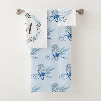 Conjunto De Toalhas Aguarela azul do país floral