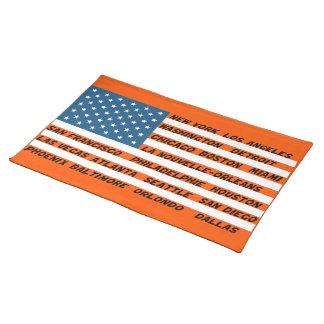 Conjuntos de mesa Bandeira EUA Laranja-Azul Suporte Para Pratos