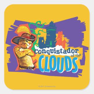Conquistador das nuvens adesivo quadrado