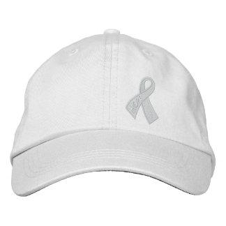 Consciência da fita do cancer da esperança branca boné bordado