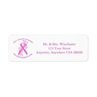 Consciência inflamatório do cancro da mama etiqueta endereço de retorno