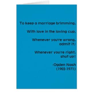 Conselho do casamento - cartão