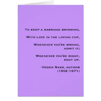 Conselho do casamento - cartão (V-dia)