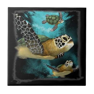 Conservação da vida marinha da tartaruga de mar azulejo quadrado pequeno