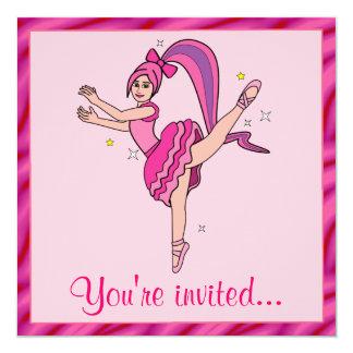 Considerando do balé: Bailarina com cabelo e arco Convite Quadrado 13.35 X 13.35cm